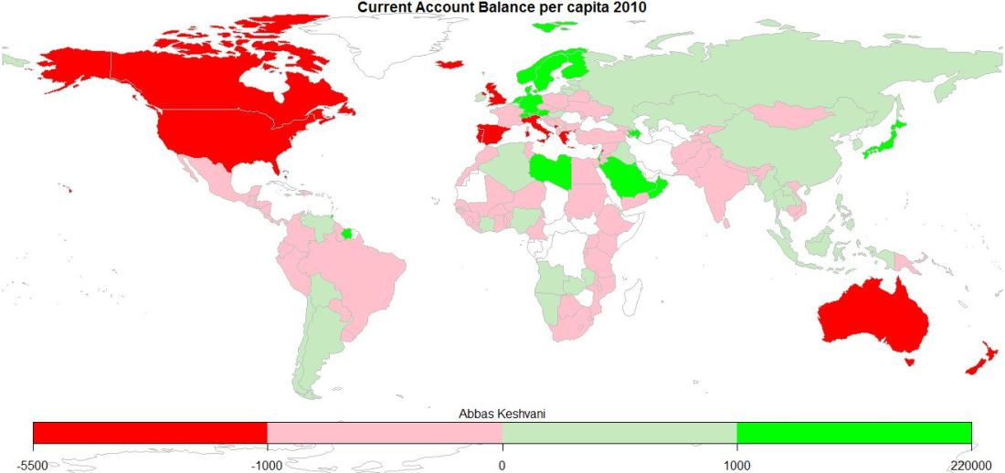 World: Current Account Balance per capita, 2010