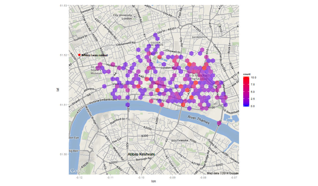 Heatmap of crime in Central London - Feb 2014